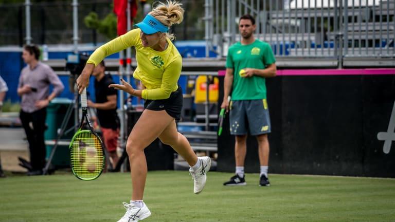No. 25 Daria Gavrilova training in Canberra on Tuesday.