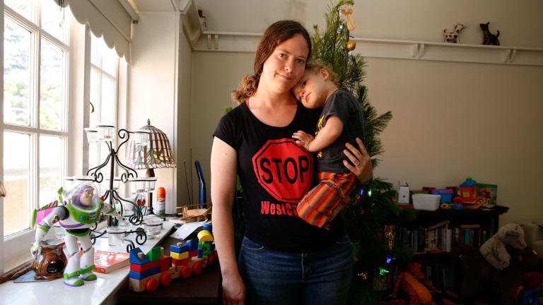 """""""I'm frightened:"""" Ruth Townley, who is concerned about the air pollution impacts for herself and her son Joey, from the WestConnex development."""
