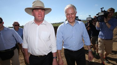 Prime Minister Malcolm Turnbull and Deputy Prime Minister Barnaby Joyce visited a sweet potato farm with in Rockhampton on Thursday.