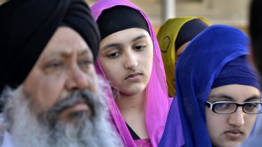 Members of the Sikh community gather for a news conference at the Sikh Association of Fresno Temple in California in 2012, in response to the shooting in Wisconsin at a Sikh temple when six people were killed by an unidentified gunman.