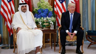 Qatar's ruler, Sheikh Tamim bin Hamad al-Thani, with Donald Trump in Saudi Arabia last month.