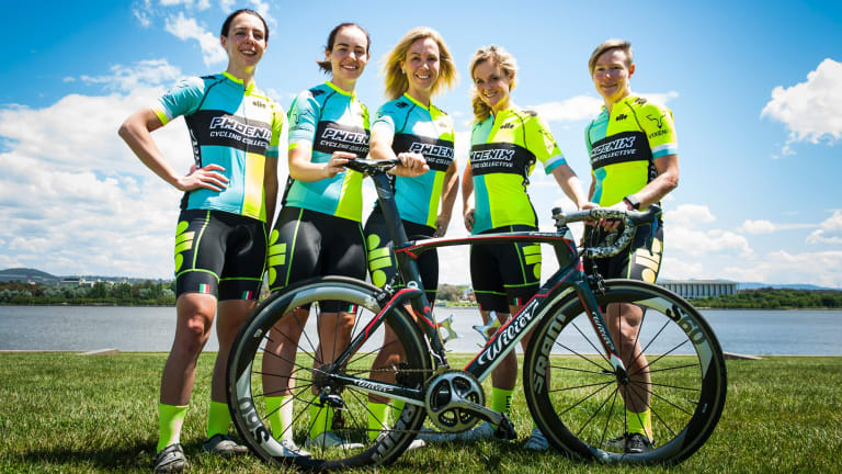 Phoenix Cycling Collective members Phoebe Chadwick-Masters, Katie McDonnell, Belinda Chamberlain, Laura Darlington and Peta Brill. Photo Elesa Kurtz