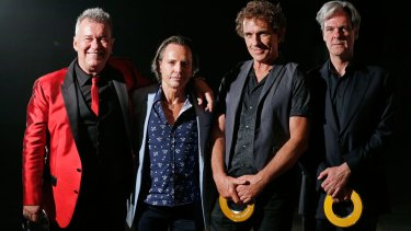 Jimmy Barnes, Phil Small, Ian Moss and Don Walker of Cold Chisel pose after Winning The Ted Albert Award for Outstanding Services to Australian Music award.