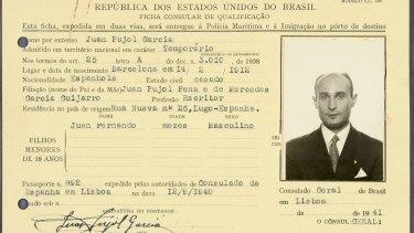 """A visa for Juan Pujol Garcia, code-named """"Garbo""""."""