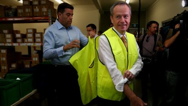 Opposition Leader Bill Shorten on the campaign at a solar wholesale distributor in Brisbane.