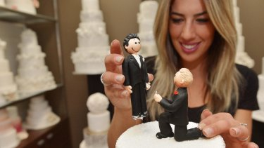 Owner of Nikos cakes in Oakleigh, Denise Paras prepares for changes in the gay marriage laws.