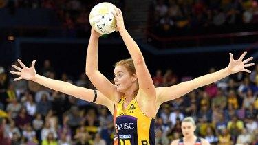 Sunshine Coast's Stephanie Wood looks to pass the ball.
