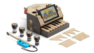 Nintendo Labo: Interactive toys, such as this piano, are put together with cardboard, string and other materials.