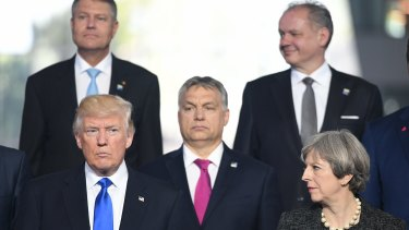 Mr Trump and Prime Minister Theresa May with other NATO leaders at the meeting.
