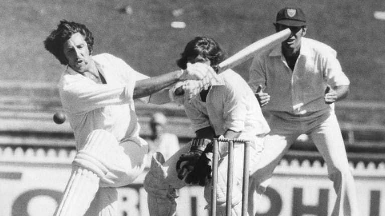 Max Walker attempts to sweep New South Wales bowler David Hourn during a Sheffield Shield match at the SCG in 1976.
