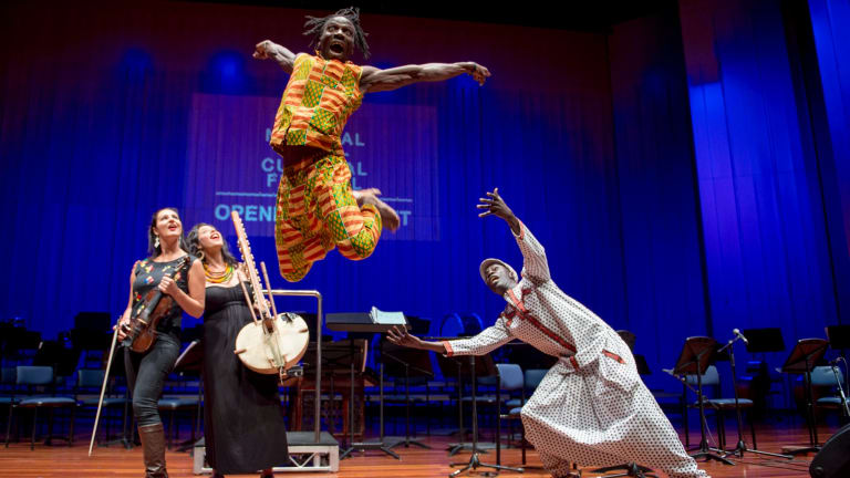 Lara Goodridge, Miriam Lieberman, Lucky Lartey and Pape Mbaye at opening night of the Multicultural festival at Llewellyn Hall.
