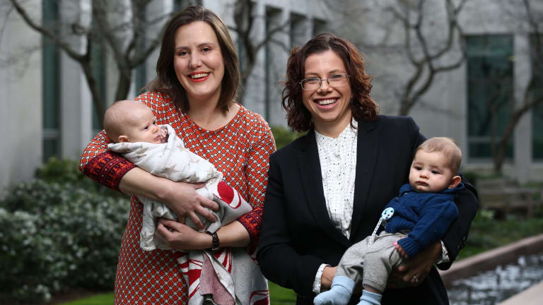 Ms O'Dwyer, pictured with Labor's Amanda Rishworth and son Percy, is one of three new mums in the Parliament.