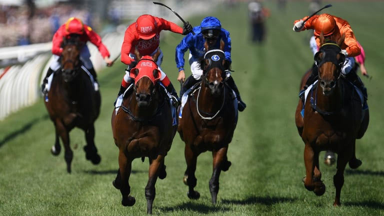 Kerrin McEvoy guides Redzel home in the Darley Classic.