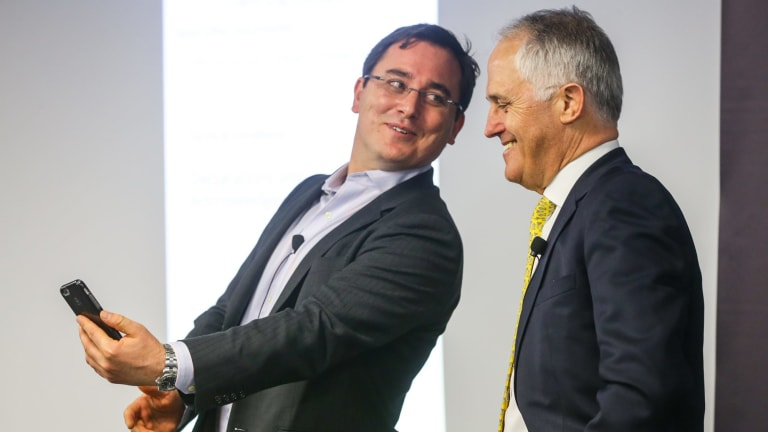 """PM Malcolm Turnbull, right, with CEO of On-Market BookBuilds Ben Bucknell. Bucknell says: """"The Federal Government should be concerned by recent moves by the ASX to make it more difficult for companies to list in Australia and more even difficult for the public to invest in company float."""""""