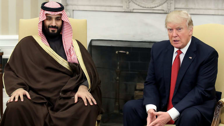 US President Donald Trump with Prince Mohammed bin Salman, now installed as Saudi Arabia's crown prince, in March.