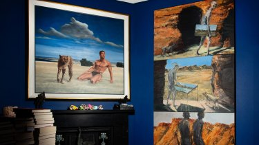 In the dining room: Ross Watson's <i>Tyson & Cheetah</i> and Euan MacLeod's <i>Gordon/MIchael Triptych</i>.