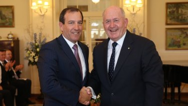 Mal Brough, left, was sworn in as Special Minister of State by Governor-General Sir Peter Cosgrove earlier this month.