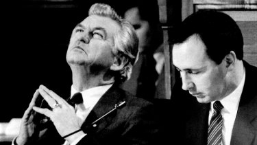 Paying attention: Bob Hawke and Paul Keating listen to Sir Arvi Parbo, of the Business Council of Australia, address the tax summit in Canberra in July 1985.