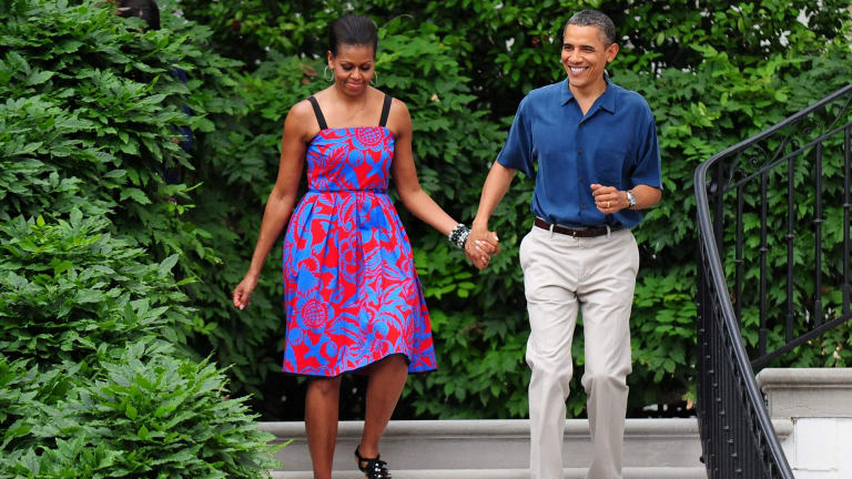 Michelle Walks With Barack Wearing Sophie Theallet At An Independence Day Barbeque On The
