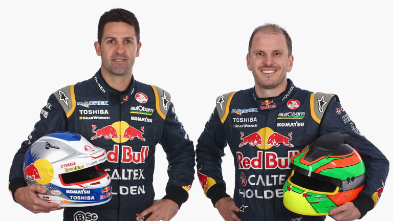 Paul Dumbrell (right) is a co-driver with six-time V8 Supercar champion Jamie Whincup (left) in the Red Bull team. He will receive $15 million in Burson shares as part of the $275 million buyout announced on Monday.