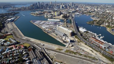 Giant redevelopment: White Bay (left) Glebe Island and Anzac Bridge (centre) and Blackwattle Bay (right).