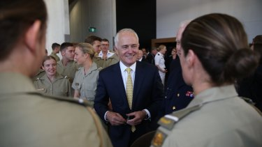 Prime Minister Malcolm Turnbull meets with defence cadets after the launch of the 2016 Defence white paper.