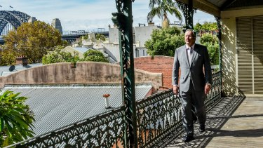 Brad Hazzard visits a property on Argyle Street in Millers Point.