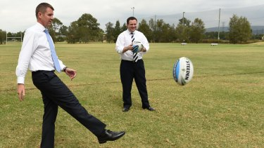 Premier Mike Baird at Penrith Panthers with Stuart Ayres during the campaign.