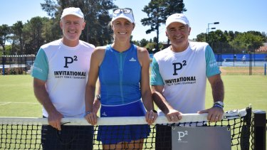 John Fitzgerald, Alicia Molik and Wally Masur in Canberra.