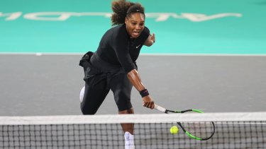 Back in action: Serena Williams during her exhibition return in Abu Dhabi.