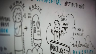 Acceleration anxiety: A whiteboard from last year's conference captures a widespread sentiment over the coming of the robots.
