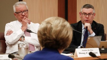 Senators Murray Watt and Doug Cameron put questions to Employment Minister Michaelia Cash during a Senate estimates hearing at Parliament House in Canberra on Wednesday.