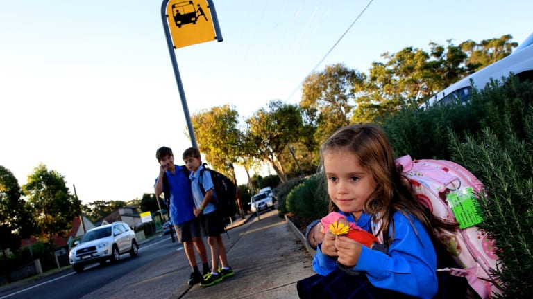 Independence day:  Lily Molyneux, 5, looks out for the bus with older brothers Jordan, 8, and Bailey, 10.