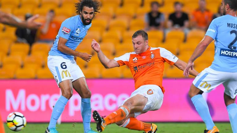 Brisbane's Avram Papadopoulos pounces to convert a chance.