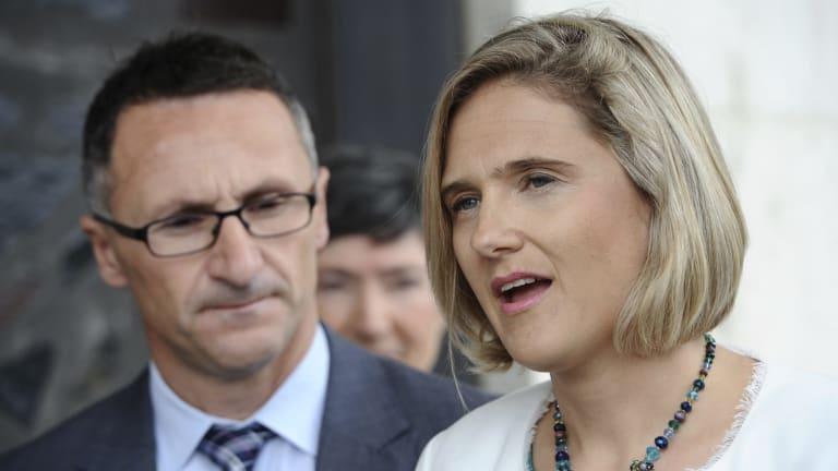 Federal leader of the Greens Senator Richard DiNatale and ACT Senate candidate Christine Hobbs.