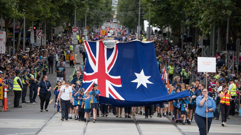 The crowd on Swanston Street for the Australia Day parade.