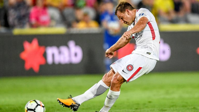 Man on a mission: Santalab strikes the ball for a goal that was a special delivery for under-fire Josep Gombau.