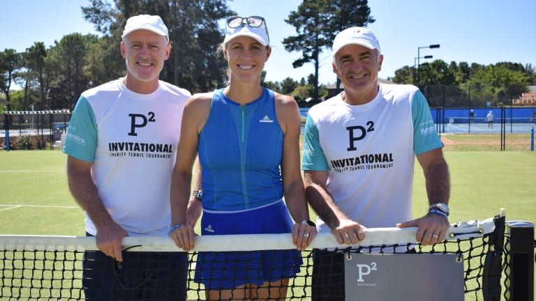 John Fitzgerald, Alicia Molik and Wally Masur in Canberra.