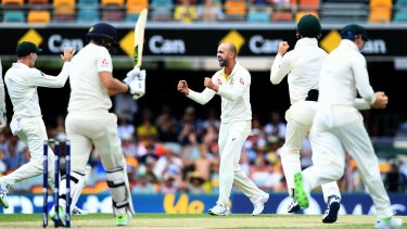 Beast: Nathan Lyon takes a wicket during the First Test.