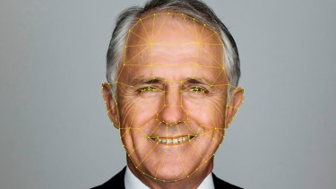 Prime Minister Malcolm Turnbull's portrait with an artist impression of facial biometric reference points.