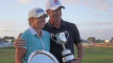 Winning grins: Richard Green and Marianne Skarpnord.