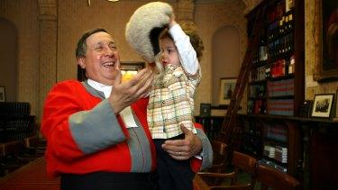 Supreme Court Justice Paul Coghlan with grandson Joseph.