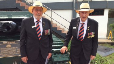 Keith Hearne (left) and Fred Sharon at the Balikpapan tank memorial on Borneo.