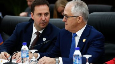 Trade Minister Steve Ciobo and Prime Minister Malcolm Turnbull in Vietnam on Friday.