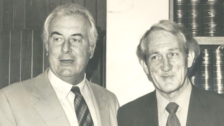 Former prime minister Gough Whitlam with his deputy Tom Uren.