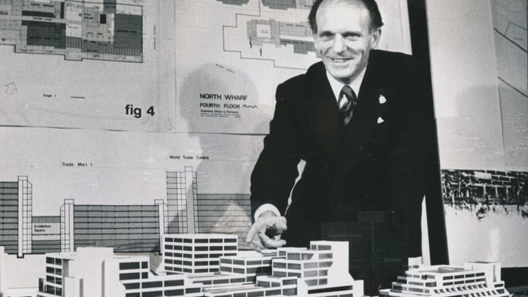 Lindsay Thompson, who would go on to become premier of Victoria, poses in 1975 with a model of the soon-to-be-built World Trade Centre.