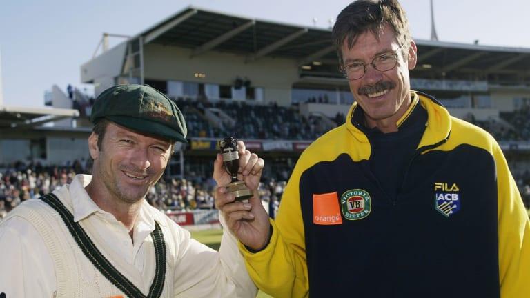 John Buchanan, right, with Steve Waugh in 2002.