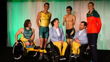 Ready for Rio: Members of the Australian Paralympic team at the uniform launch on Tuesday.