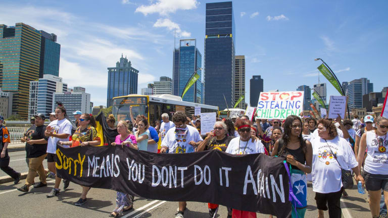 The first protest to coincide with G20 takes place in Brisbane.