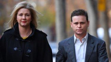 Jockey Danny Nikolic (right) with partner Tania Hyett (left) entering court in June.